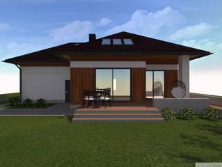 Elewacja domu Broszkowice: styl , w kategorii  zaprojektowany przez K. J. Studio - Projektowanie i aranżacja wnętrz,