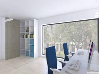 Biuro 30m2 Katowice: styl , w kategorii  zaprojektowany przez K. J. Studio - Projektowanie i aranżacja wnętrz,