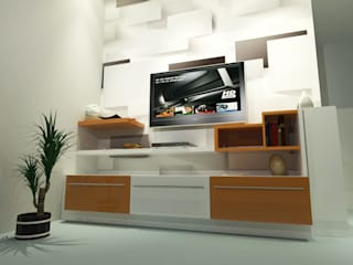 Living Area Wall Decor:  Living room by EBEESDECOR