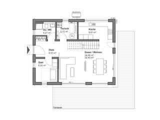 Satteldachhaus mit grauem Highlight - EG Grundriss:   von bauen.wiewir GmbH & Co KG