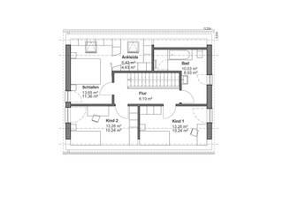 Satteldachhaus mit grauem Highlight - OG Grundriss:   von bauen.wiewir GmbH & Co KG