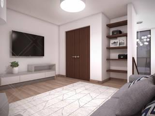 Cuarto de TV: Salas multimedia de estilo  por CDR CONSTRUCTORA