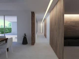 Intérieur villa contemporaine dans le Var Couloir, entrée, escaliers modernes par sebastien belle Moderne
