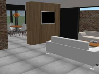 Vivienda GS Salones minimalistas de Proyectarq Minimalista