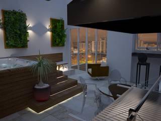 Renata Romeiro Interiores Moderner Balkon, Veranda & Terrasse Holz Weiß