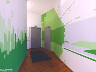 App Firma Raumdesign im Berliner Büro Loft Moderne Geschäftsräume & Stores von Wandgestaltung Graffiti Airbrush von Appolloart Modern