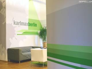 App Firma Raumdesign im Berliner Büro Loft:  Bürogebäude von  Wandgestaltung Graffiti Airbrush von Appolloart