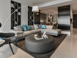 Titanium鈦白 现代客厅設計點子、靈感 & 圖片 根據 CJ INTERIOR 長景國際設計 現代風