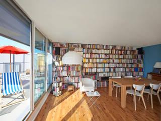 bibliothèque sur mesure, séjour ouvert, bordeaux, bibliothèqyue en métal et bois: Salle à manger de style  par Rodde Aragües Architectes