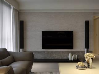 Phòng khách phong cách tối giản bởi 大言室內裝修有限公司 Tối giản
