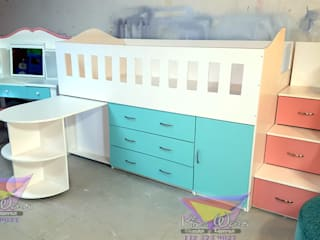 Practica y juvenil cama alta de camas y literas infantiles kids world Moderno Derivados de madera Transparente