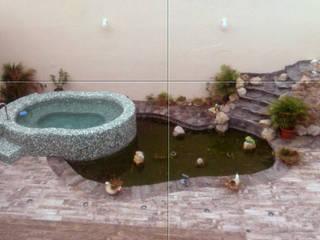 Tina de hidromasaje-espejo-cascada Albercas mediterráneas de Diseño Aplicado Avanzado de Guadalajara Mediterráneo