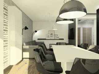Apartament z czarną fornirowaną wyspą: styl , w kategorii Jadalnia zaprojektowany przez Esteti Design