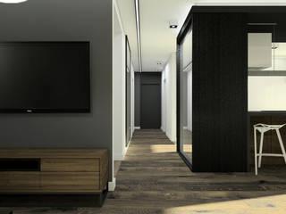 Apartament z czarną fornirowaną wyspą: styl , w kategorii Korytarz, przedpokój zaprojektowany przez Esteti Design