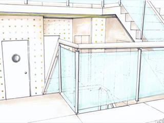 Interieur trappenhal Burgemeester Reigerstraat Utrecht Hal:   door LINDESIGN Amsterdam Ontwerp Design Interieur Industrieel Meubels Kunst