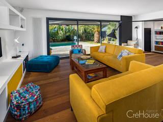 Rénovation/extension d'une villa à Anglet Salon moderne par Agence CréHouse Moderne