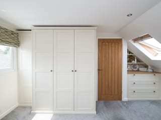under eaves bedroom Chalkhouse Interiors BedroomWardrobes & closets Wood Yellow