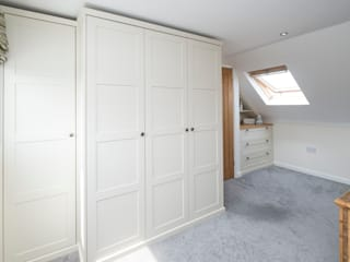 under eaves bedroom Chalkhouse Interiors BedroomWardrobes & closets Wood White