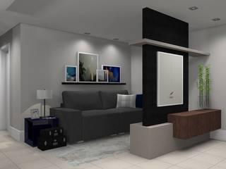 Apartamento do jovem solteiro:   por Domi Arquitetura e Interiores