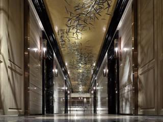 Asian style corridor, hallway & stairs by 天坊室內計劃有限公司 TIEN FUN INTERIOR PLANNING CO., LTD. Asian