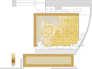 Эскизный проект ковров в гостиной и коридоре.:  в . Автор – Privat Design Studio