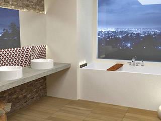 Baño con pared de piedra natural de EMS interiorismo Mediterráneo