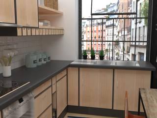 Cocina pequeña estilo IKEA Cocinas de estilo industrial de EMS interiorismo Industrial