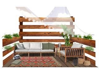 Terraza de 3x3 Balcones y terrazas de estilo tropical de EMS interiorismo Tropical