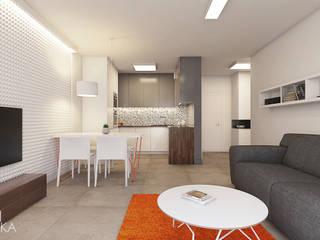 Apartament z czerwonym fotelem/ Bielsko-Biała Nowoczesny salon od TIKA DESIGN Nowoczesny