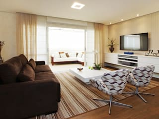 COND ILHA DE CAPRI: Salas de estar  por Serra Vaz Arquitetura e Design de Interiores,