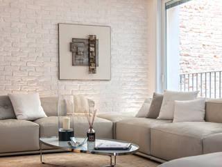 Minimal white BRANDO concept Soggiorno moderno