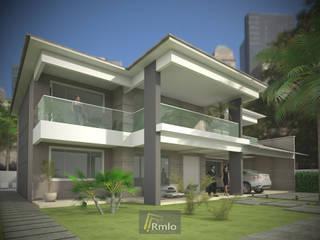 Fachada de Casa Duplex Belém: Casas  por Rmlo Arquitetura . Design . Iluminação