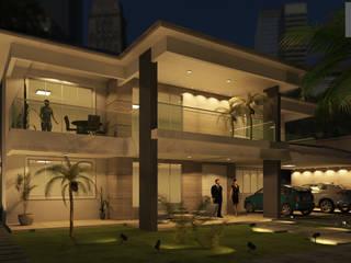 Simulação da Iluminação na Fachada de casa duplex: Casas  por Rmlo Arquitetura . Design . Iluminação