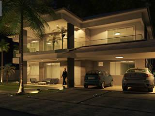 Simulação da Iluminação na Fachada: Casas  por Rmlo Arquitetura . Design . Iluminação