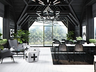 Salas multimedia de estilo  de Home in the Woods,
