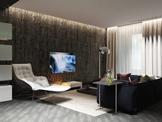 Гостиная первого этажа таун-хауса, площадью 80 кв. м.: Гостиная в . Автор – Design by warm vision