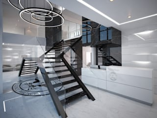 Modern Corridor, Hallway and Staircase by Liquidmesh Design Modern