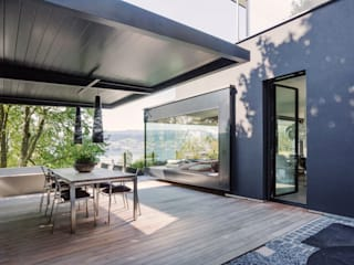 meier architekten zürich Modern style balcony, porch & terrace Wood Black