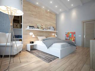 townhouse in scandinavian style Scandinavian style bedroom by Rubleva Design Scandinavian