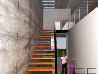 Casa RS [León, Gto] 3C Arquitectos S.A. de C.V. Pasillos, vestíbulos y escaleras modernos Concreto Acabado en madera