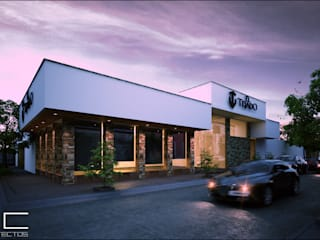 Restaurant El Tejado [Romita, Gto] 3C Arquitectos S.A. de C.V. Bares y clubs de estilo moderno Piedra Acabado en madera