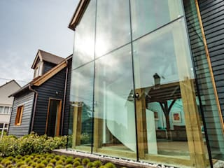 Double Height Structural Glass Atrium and Rear Extension Trombe Ltd Livings modernos: Ideas, imágenes y decoración
