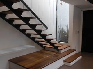 Cláudia Legonde Modern Corridor, Hallway and Staircase Wood Black