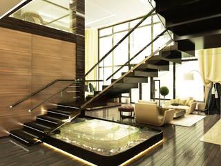 Жилой дом с бассейном 1400 кв.м.: Коридор и прихожая в . Автор – LEO Company