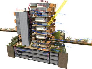 PROTOTIPO DE VIVIENDA MULTIFAMILIAR BIOCLIMÁTICA Casas modernas de AbiOS Estudio de Arquitectura Moderno