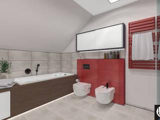 ŁAZIENKA _ red Minimalistyczna łazienka od ABC Pracownia Projektowa Bożena Nosiła Minimalistyczny