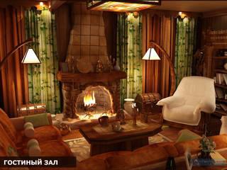 Студия интерьера Дениса Серова Rustic style living room