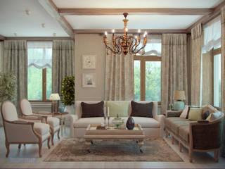 Студия интерьера Дениса Серова Country style living room Beige