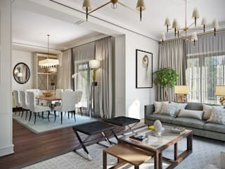 Зона гостиной и столовой: Столовые комнаты в . Автор – АСК Бюро ЛАДИФ