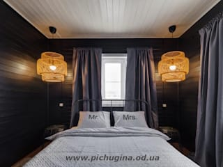 Tatyana Pichugina Design Eclectic style bedroom Wood Black